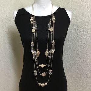 5/$25 Chico's Multi-Strand Gold & Crystal Necklace